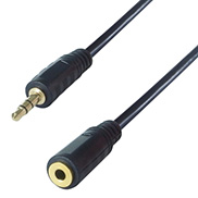 A black cable with one 3.5mm stereo jack connector male and one 3.5mm stereo jack connector female extension lead both connectors are gold plated