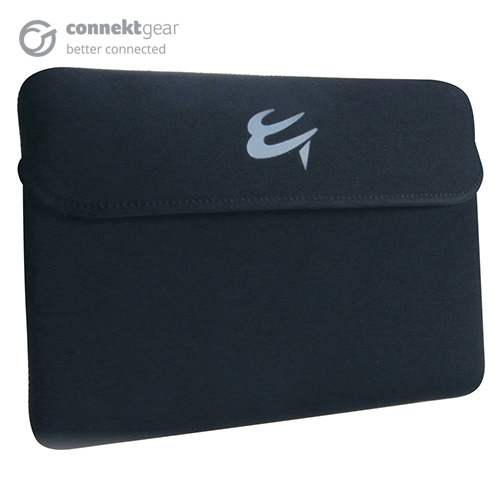 A black slip case which is the size used with a tablet with a blue logo printed on the front