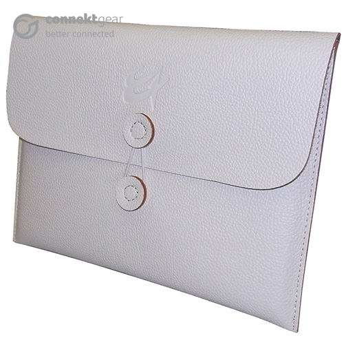 An angled view of a white faux leather slip case intended for ipads or tablets with a logo indented into the front