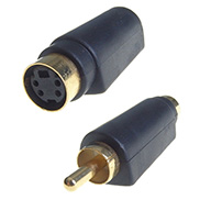 A rounded SVHS to RCA/phono adapter which has a gold plated male gold plated RCA/phono plug to a gold plated SVHS female plug in black plastic housing