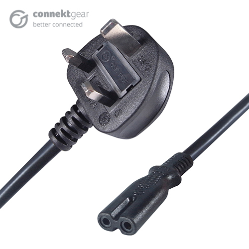 a UK mains to C7 connector cable with a UK mains male connector plug and a C7 IEC female figure 8 connector