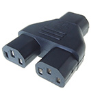 Mains Power Splitter Adapter C14 Plug to 2 x C13 Sockets