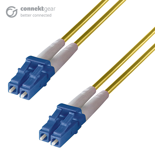 Duplex Fibre Optic Single-Mode Cable OS2 9/125 Micron LC to LC Yellow