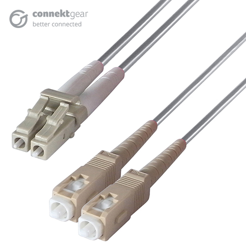 Duplex Fibre Optic Multi-Mode Cable OM1 62.5/125 Micron LC to SC Grey